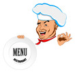 Happy joyful Chef and big plate.Restaurant business. Vector