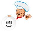 Happy joyful Chef and big plate.Restaurant business. Vector
