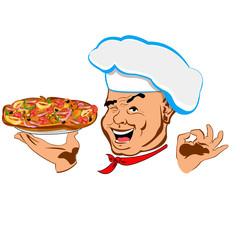 Happy joyful Chef and big traditional pizza