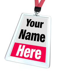Your Name Here Badge Lanyard Advertising