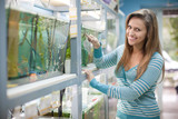 Woman near aquariums  in petshop