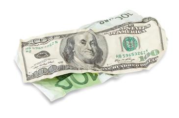 $100 dollar bill and 100 euro
