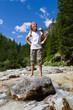 Girl on mountain hike -  Dolomites, Italy