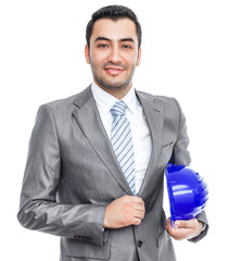 businessman or engineer with helmet, isolated