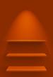 Drei Regale an Wand mit Beleuchtung - Orange