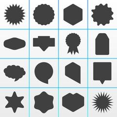 16 Grey Onlineshop Badges Buttons Overlays Symbols