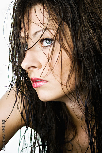 beautiful woman with wet hair