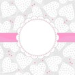 serca w kropki romantyczne tło ramka z różową wstążką