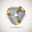 Abstract metal shape with steel and gold elements
