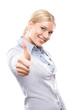 Happy attractive woman showing thumbs up