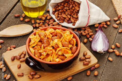 Pasta e fagioli - Italian pasta with beans , setting - 49460381