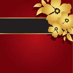 Floral Gold and Red Card
