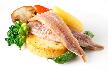 anchovy with vegetables isolated
