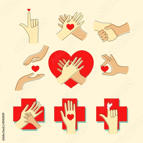 Icon set with hands and heart