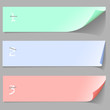 Three horizontal numbered paper banners