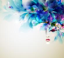 Belles femmes abstrait avec des éléments de conception