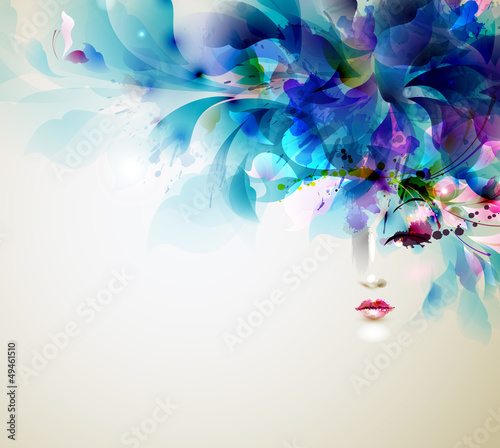 Poster Bloemen vrouw Beautiful abstract women with abstract design elements