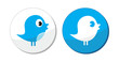 Social media blue bird vector labels