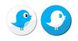 Social media blue bird vector labels
