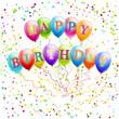 happy birthday balloons with confetti