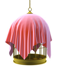 Birdcage hanging with red drape