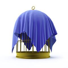 Birdcage with blue drape