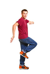 Stylish and cool breakdance style dancer posing isolated on whit