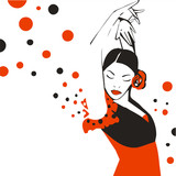 Flamenco dancer. Abstract vector illustration.