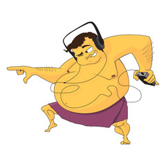 The dancing fat man in a bathroom with ear-phones. Vector illust
