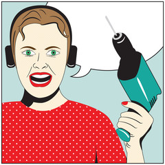 Illustration of Pop Art Woman with drill