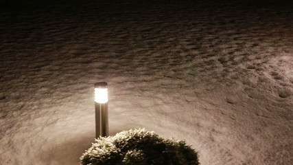 torch in falling snow in the night Full HD