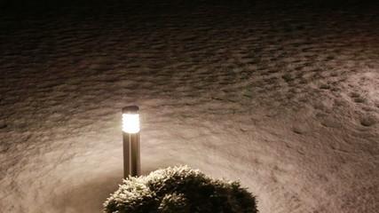 torch in falling snow in the night Full HD