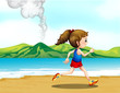 A girl jogging at the seashore