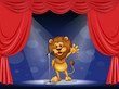 A lion singing at the center of the stage