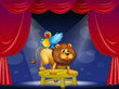 A circus showing the lion and the parrot