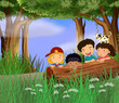 Four childrens playing in the forest