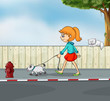 A girl strolling with her pet
