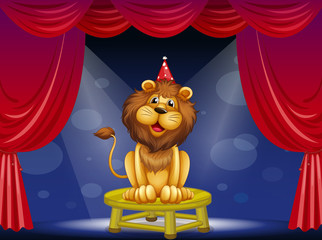 A lion sitting above a round table