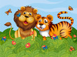 A lion, tiger and butterflies in the garden