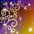 Gold and violet floral frame