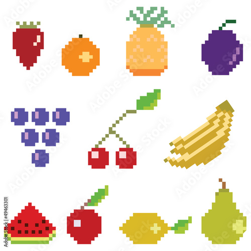 Foto op Canvas Pixel Pixel fruit collection
