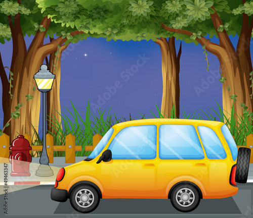 A yellow car