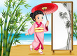 A girl in a kimono attire