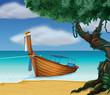 A wooden boat at the seashore