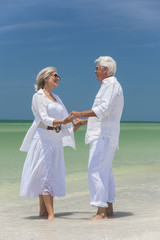 Happy Senior Couple Holding Hands on Tropical Beach