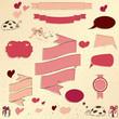 Set of vintage deign elements about love.