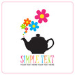 Abstract illustration of teapot with flowers. Place for your tex