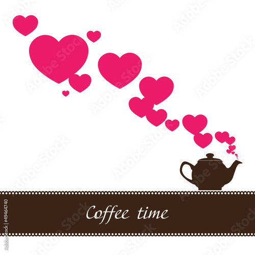 Abstract illustration of teapot with hearts. Place for your text