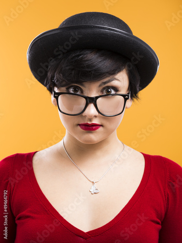 Astonished nerd girl