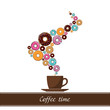 Abstract vector illustration of coffee-cup with donut. Place for
